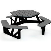 Global Industrial™ 6 ft. Recycled Plastic Hexagon Picnic Table with Black Frame - Gray