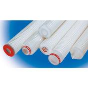 High Purity Pleated Poly Cartridge Filter 40 Micron - 2-3/4 Dia x 10H Viton Seals, 222 w/Flat Cap - Pkg Qty 12