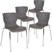 Flash Furniture Plastic Stack Chair - Lowell Contemporary Design - Gray  - 4 per Pack
