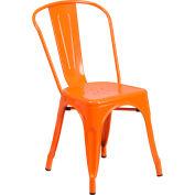Flash Furniture Metal Indoor-Outdoor Stackable Chair - Orange