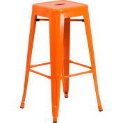 Flash Furniture 30'' Backless Barstool - Metal - Square - Orange