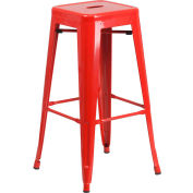 "Flash Furniture 30""H Backless Barstool - Metal - Square - Red"