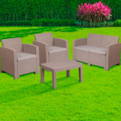 4-Piece Outdoor Patio Chair Set Faux Rattan Light Gray