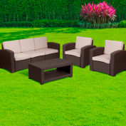 4-Piece Outdoor Patio Sofa Set - Faux Rattan - Chocolate Brown with Beige Cushions