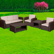 5-Piece Outdoor Patio Set - Faux Rattan - Chocolate Brown with Beige Cushions