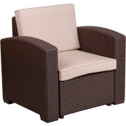 All-Weather Faux Rattan Chair - Chocolate Brown with Beige Cushions
