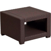 Outdoor Faux Rattan End Table - Chocolate Brown