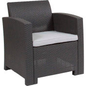 All-Weather Faux Rattan Chair - Dark Gray with Light Gray Cushion