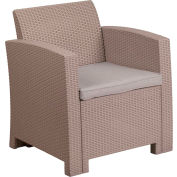 All-Weather Faux Rattan Chair - Light Gray with Light Gray Cushion