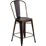 """24"""" High Distressed Metal Indoor-Outdoor Counter Height Stool with Back - Copper"""