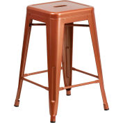 """Flash Furniture 24""""H Backless Counter-Height Stool - Metal - Square - Copper"""
