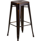 "Flash Furniture 30""H Backless Barstool - Metal - Square - Distressed Copper"