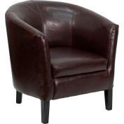 Barrel-Shaped Lounge Guest Chair - Leather - Brown