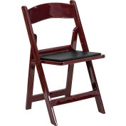 HERCULES Series Resin Folding Chair W/Black Vinyl Padded Seat, Mahogany Resin Frame - Pkg Qty 4