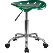 Vibrant Green Tractor Seat & Chrome Stool