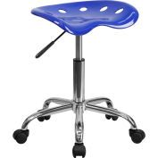Vibrant Nautical Blue Tractor Seat & Chrome Stool