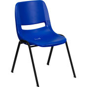 Ergonomic Shell Stack Chair  - Plastic - Blue - Hercules Series - Pkg Qty 4