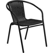Rattan Indoor-Outdoor Restaurant Stacking Chair - Black