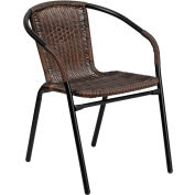 Rattan Indoor-Outdoor Restaurant Stack Chair - Dark Brown