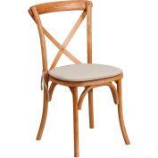 Flash Furniture Stacking Wood Cross Back Chair with Cushion - Oak - Hercules Series