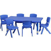 """48""""L Rectangle Plastic Height-Adjustable Activity Table Set with 6 Chairs - Blue"""