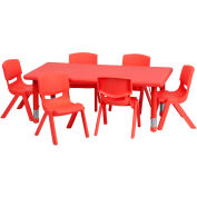 """48""""L Rectangle Plastic Height-Adjustable Activity Table Set with 6 Chairs - Red"""