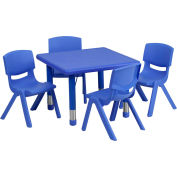 """24"""" Square Plastic Height-Adjustable Activity Table Set with 4 Chairs - Blue"""