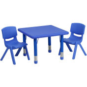"Flash Furniture 24"" Square Plastic Height-Adjustable Activity Table Set with 2 Chairs - Blue"