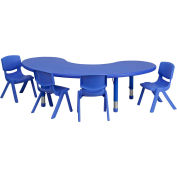 """Flash Furniture 65""""L Half-Moon Plastic Height-Adjustable Activity Table Set with 4 Chairs - Blue"""