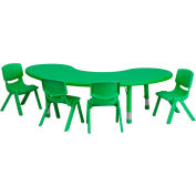 """65""""L Half-Moon Plastic Height-Adjustable Activity Table Set with 4 Chairs - Green"""
