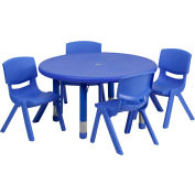 """33"""" Round Plastic Height-Adjustable Activity Table Set with 4 Chairs - Blue"""