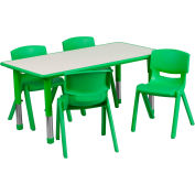 """47.25"""" Rectangle Plastic Height Adjustable Activity Table Set with 4 Chairs - Green"""