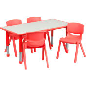 """47.25"""" Rectangle Plastic Height Adjustable Activity Table Set with 4 Chairs - Red"""