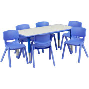"""47.25"""" Rectangle Plastic Height Adjustable Activity Table Set with 6 Chairs - Blue"""