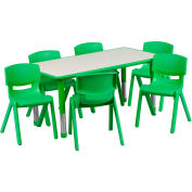 """47.25"""" Rectangle Plastic Height Adjustable Activity Table Set with 6 Chairs - Green"""