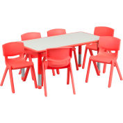 """47.25"""" Rectangle Plastic Height Adjustable Activity Table Set with 6 Chairs - Red"""