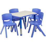 """26.63"""" Rectangle Plastic Height Adjustable Activity Table Set with 4 Chairs - Blue"""