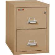 "Fireking Fireproof 2 Drawer Vertical File Cabinet - Letter Size 18""W x 31-1/2""D x 28""H - Sand"