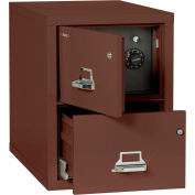 """Fireking Fireproof 2 Drawer Vertical Safe-In-File Legal 20-13/16""""Wx31-9/16""""Dx27-3/4""""H Brown"""