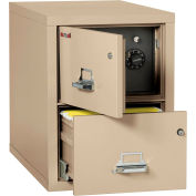 """Fireking Fireproof 2 Drawer Vertical Safe-In-File Legal 20-13/16""""Wx31-9/16""""Dx27-3/4""""H Parchment"""