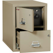 """Fireking Fireproof 2 Drawer Vertical Safe-In-File Legal 20-13/16""""Wx31-9/16""""Dx27-3/4""""H Pewter"""