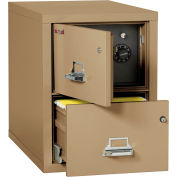 """Fireking Fireproof 2 Drawer Vertical Safe-In-File Legal 20-13/16""""Wx31-9/16""""Dx27-3/4""""H Sand"""