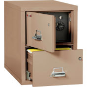 """Fireking Fireproof 2 Drawer Vertical Safe-In-File Legal 20-13/16""""Wx31-9/16""""Dx27-3/4""""H Taupe"""