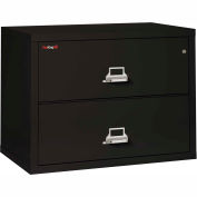 "Fireking Fireproof 2 Drawer Lateral File Cabinet - Letter-Legal Size 37-1/2""W x 22""D x 28""H - Black"