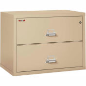 "Fireking Fireproof 2 Drawer Lateral File Cabinet - Letter-Legal Size 37-1/2""W x 22""D x 28""H - Putty"