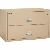 "Fireking Fireproof 2 Drawer Lateral File Cabinet - Letter-Legal Size 44-1/2""W x 22""D x 28""H - Putty"