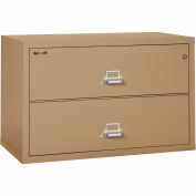 "Fireking Fireproof 2 Drawer Lateral File Cabinet - Letter-Legal Size 44-1/2""W x 22""D x 28""H - Sand"