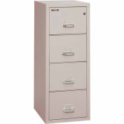 "Fireking Fireproof 4 Drawer Vertical File Cabinet - Letter Size 18""W x 25""D x 53""H - Light Gray"