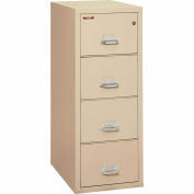 """Fireking Fireproof 4 Drawer Vertical File Cabinet - Letter Size 18""""W x 31-1/2""""D x 53""""H - Putty"""