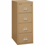 "Fireking Fireproof 4 Drawer Vertical File Cabinet - Letter Size 18""W x 31-1/2""D x 53""H - Sand"